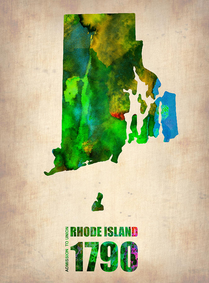 Rhode Island Watercolor Map Digital Art  - Rhode Island Watercolor Map Fine Art Print