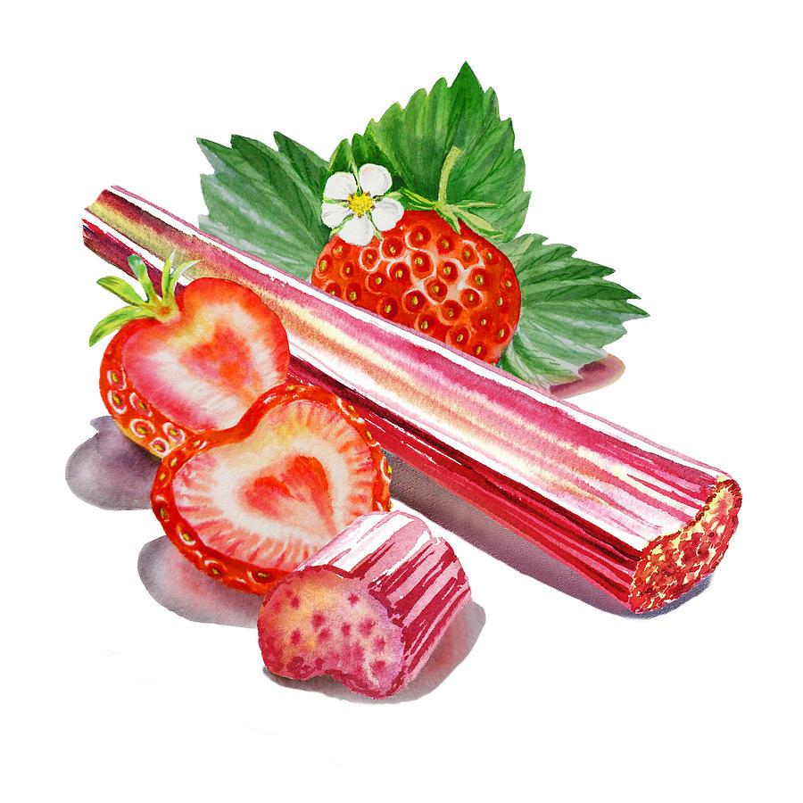 Rhubarb Strawberry Painting By Irina Sztukowski