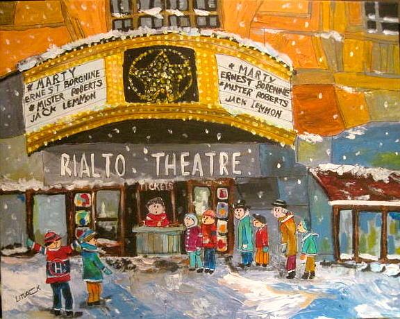 Rialto Theatre Painting - Rialto Theatre 1956 by Michael Litvack