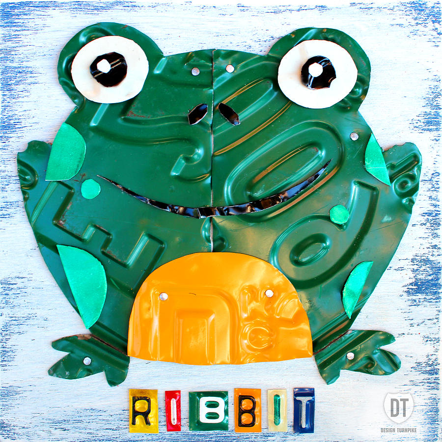 Ribbit The Frog License Plate Art Mixed Media  - Ribbit The Frog License Plate Art Fine Art Print