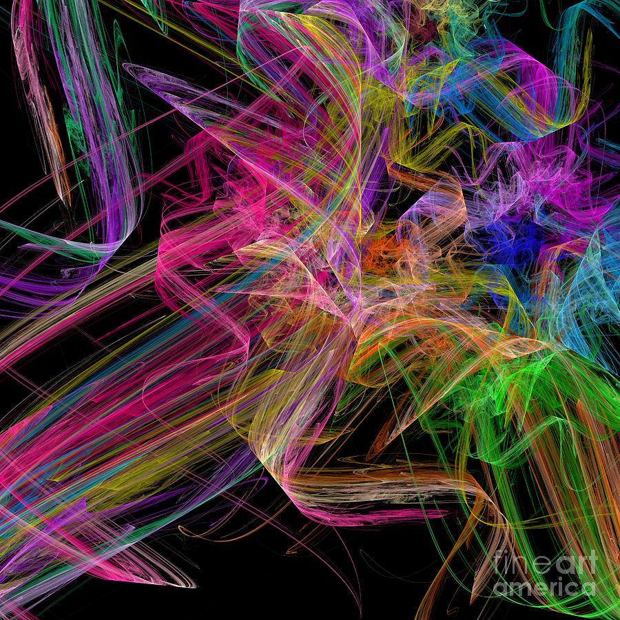 Ribbons And Curls Black - Abstract - Fractal Digital Art