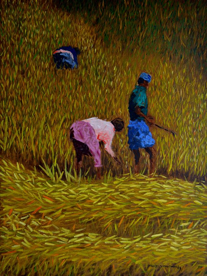 Rice Crop In Nepal Painting  - Rice Crop In Nepal Fine Art Print