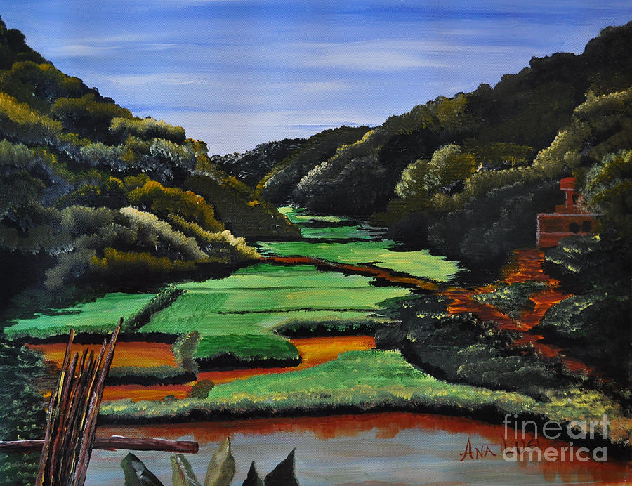 Rice Valley Acrylic Painting  - Rice Valley Acrylic Fine Art Print