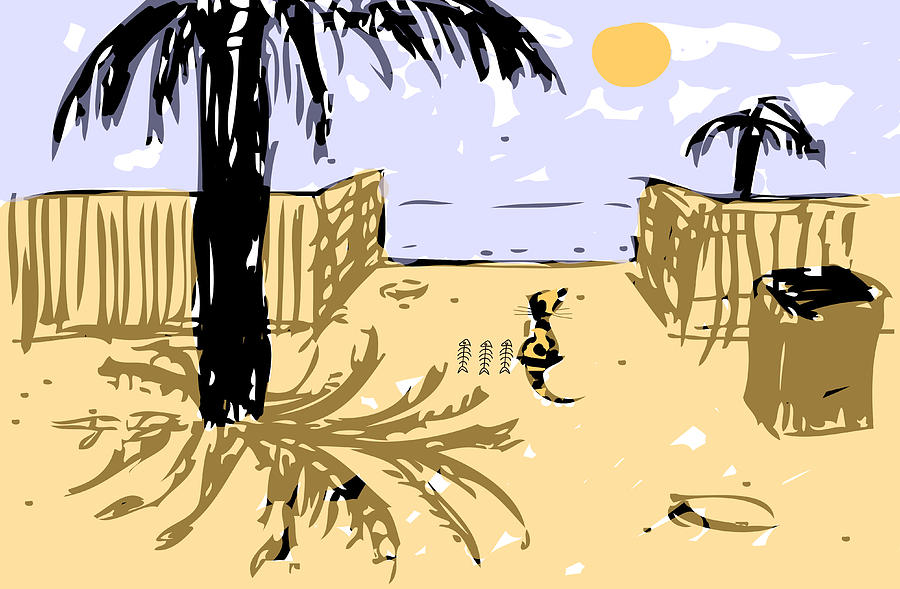 Rich Cat On The Beach Painting