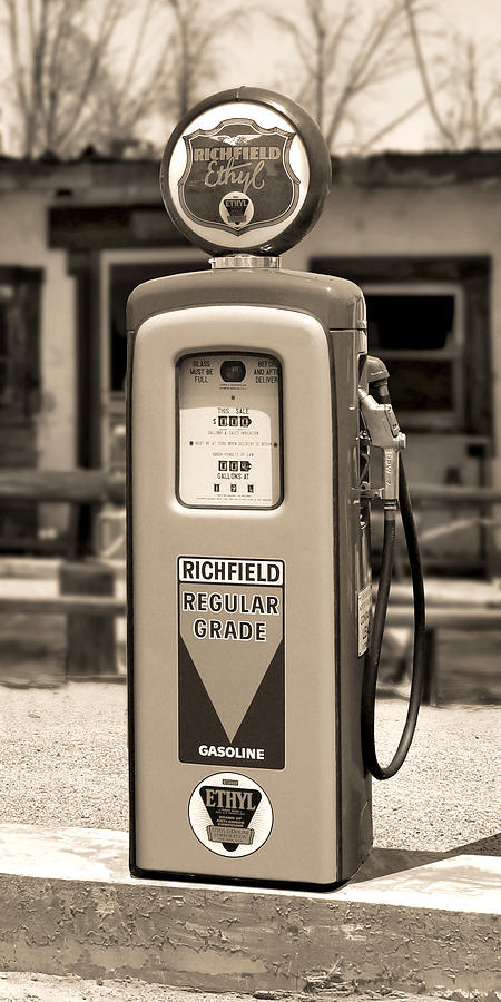 Richfield Ethyl - Gas Pump - Sepia Photograph  - Richfield Ethyl - Gas Pump - Sepia Fine Art Print