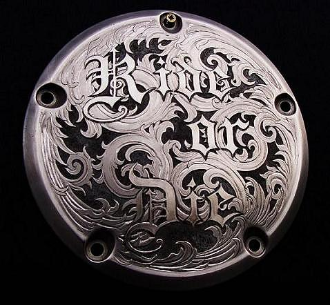 Ride Or Die Hand Engraved Relief Made On A Harley-davidson Derby Cover Sculpture