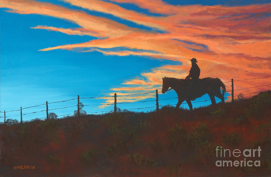 Riding Fence Painting  - Riding Fence Fine Art Print