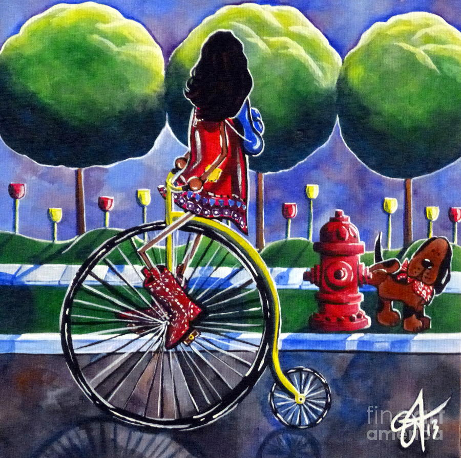 Riding Grandmas Bike Painting  - Riding Grandmas Bike Fine Art Print