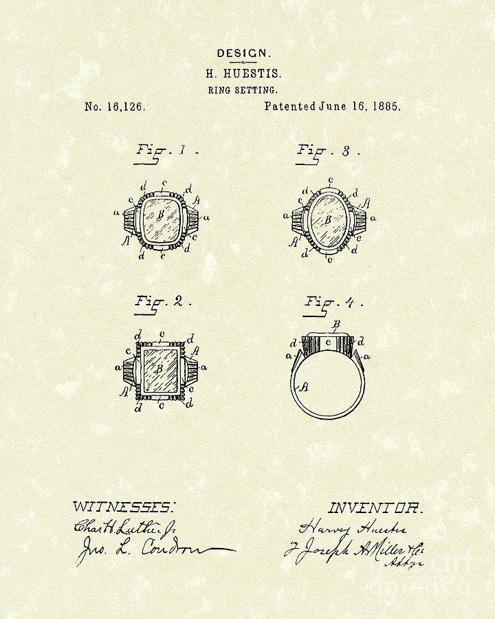 Ring Setting 1885 Patent Art Drawing  - Ring Setting 1885 Patent Art Fine Art Print