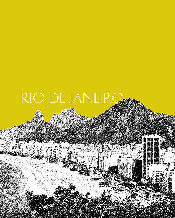 Architecture Digital Art - Rio De Janeiro Skyline Copacabana Beach - Mustard  by DB Artist