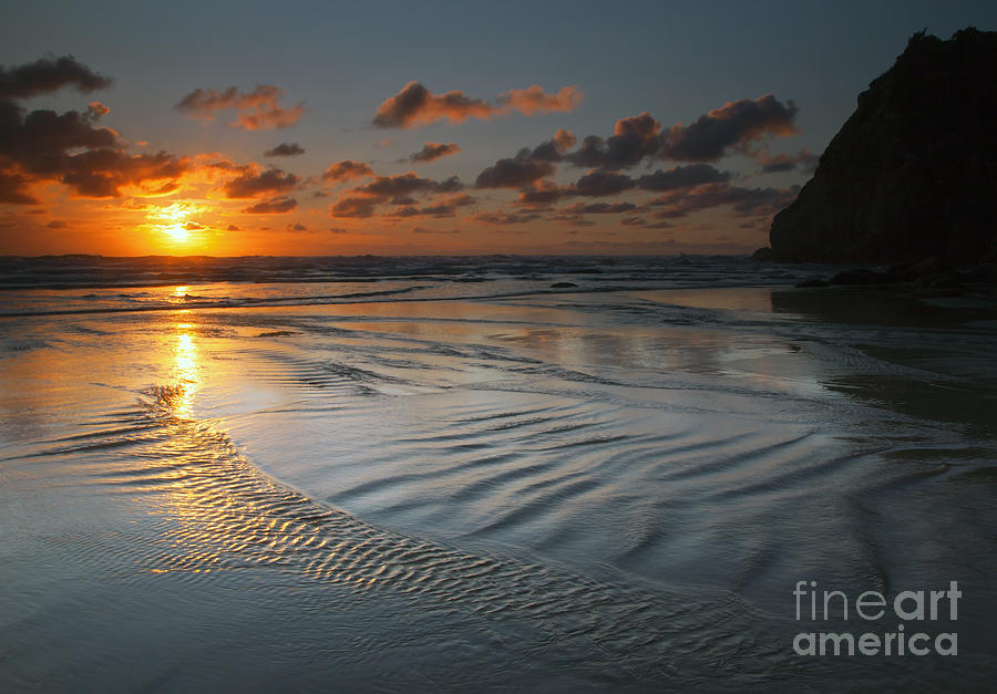 Hug Point Photograph - Ripples On The Beach by Mike  Dawson