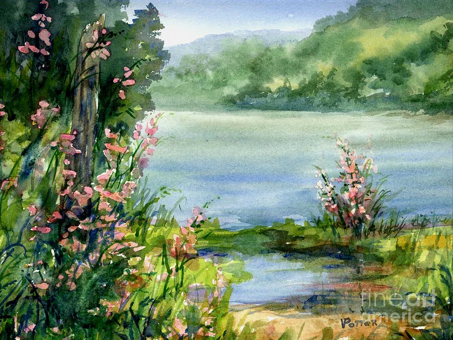 River Bank Flowers Painting by Virginia Potter