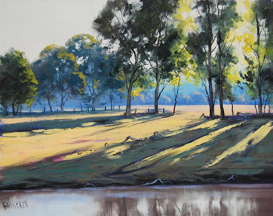 River Bank Shadows Tumut Painting