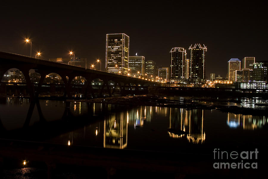 River City Lights At Night Photograph  - River City Lights At Night Fine Art Print