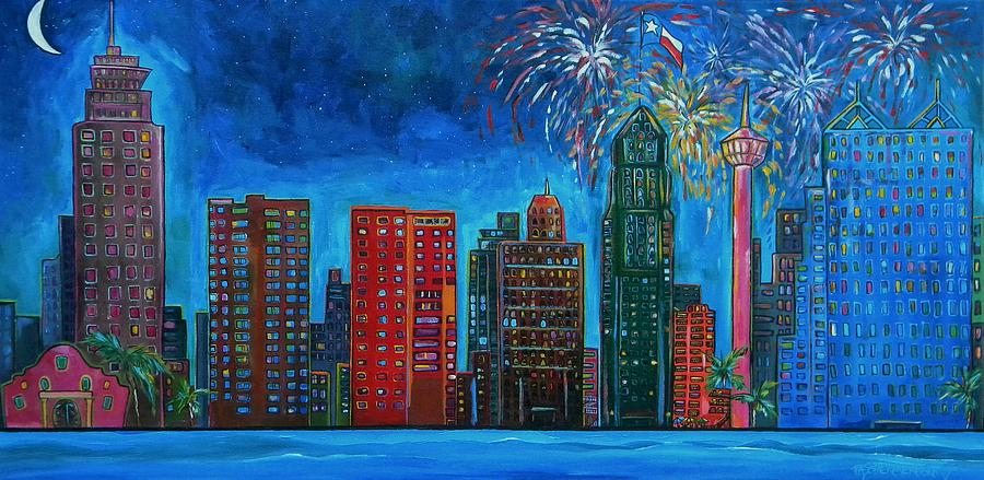 River City Skyline Painting  - River City Skyline Fine Art Print