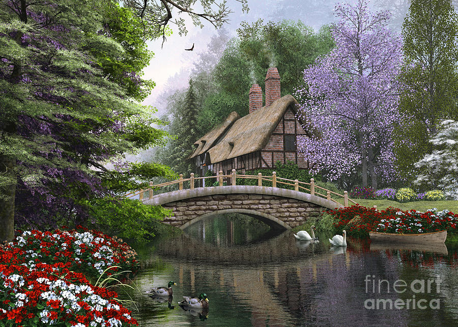 Victorian Digital Art - River Cottage by Dominic Davison