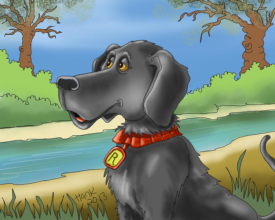 River Dog Drawing  - River Dog Fine Art Print