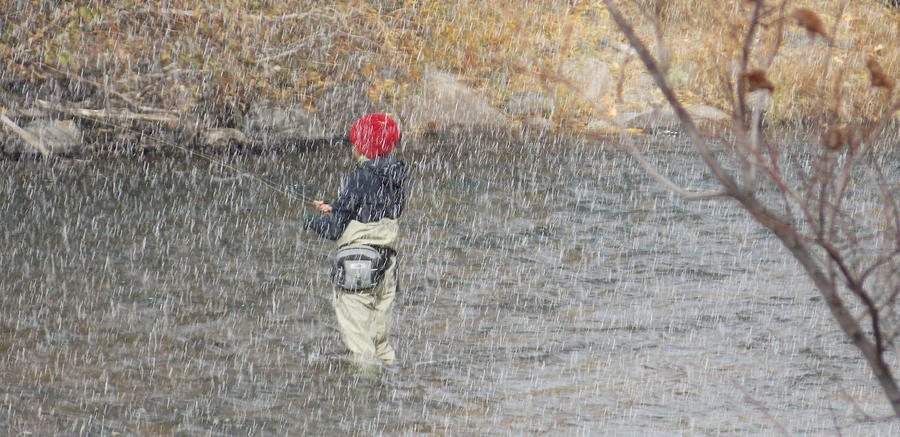 River Fishing In The Snow Photograph