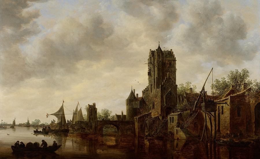 River Landscape With The Pellecussen Gate Near Utrecht Painting