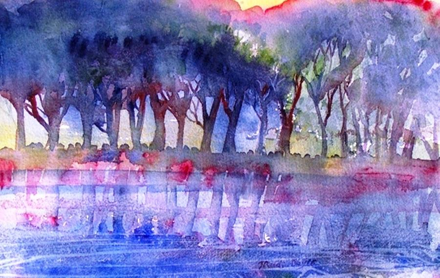 River Trees  Painting  - River Trees  Fine Art Print