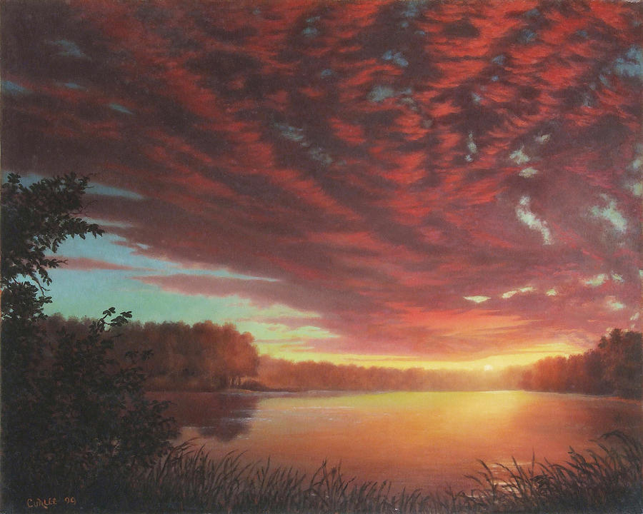 Riverbend Sunset Sky River Landscape Oil Painting American Yellow Pink Orange Painting  - Riverbend Sunset Sky River Landscape Oil Painting American Yellow Pink Orange Fine Art Print