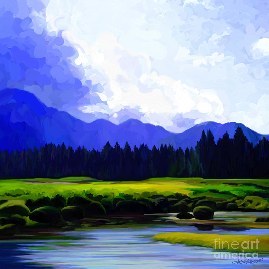 River's Edge Painting - Rivers Edge by Dorinda K Skains
