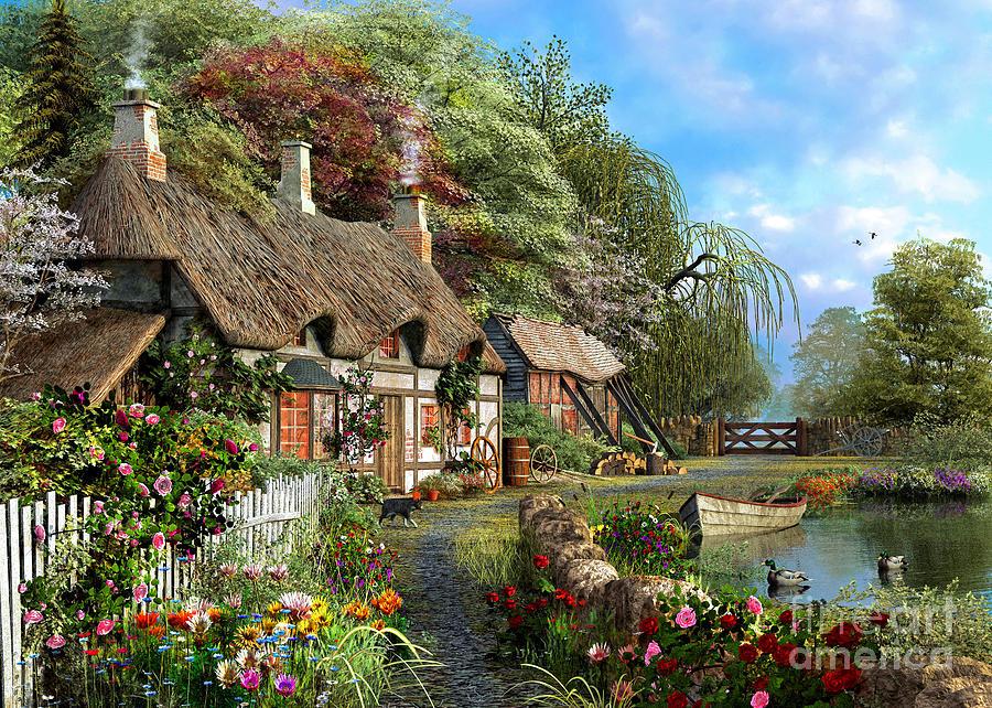 Riverside Home In Bloom Digital Art