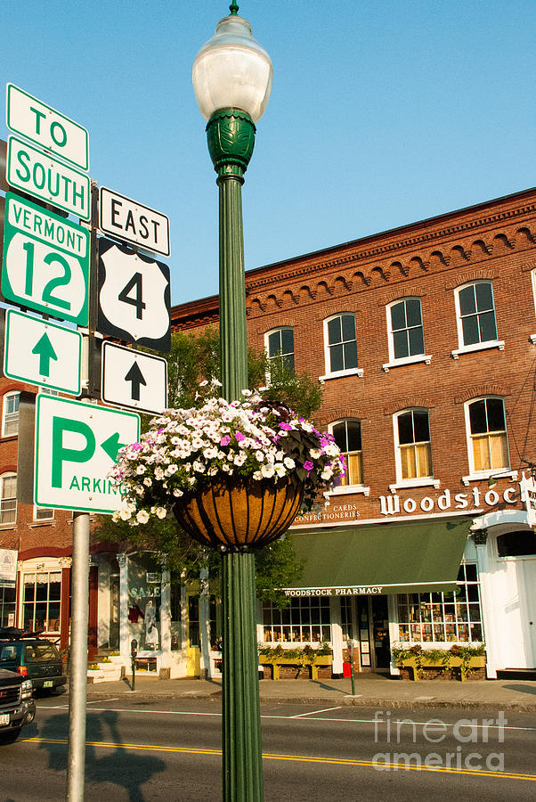 Road Signs At Downtown Junction In Woodstock Vermont Photograph  - Road Signs At Downtown Junction In Woodstock Vermont Fine Art Print