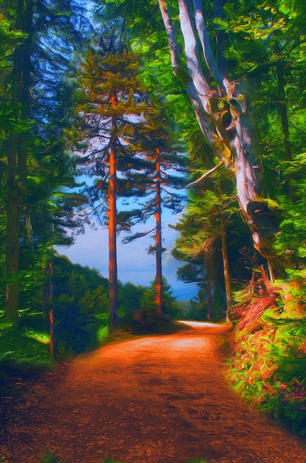 Road Through The Forest Painting  - Road Through The Forest Fine Art Print