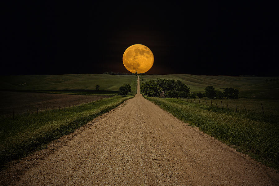 Road To Nowhere - Supermoon Photograph  - Road To Nowhere - Supermoon Fine Art Print