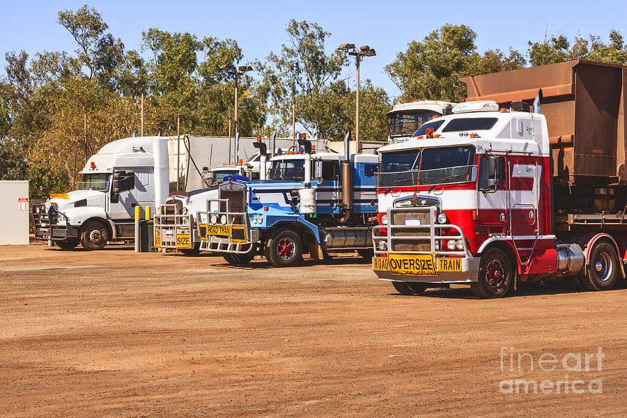 Road Trains Taking On Gas Or Diesel Photograph