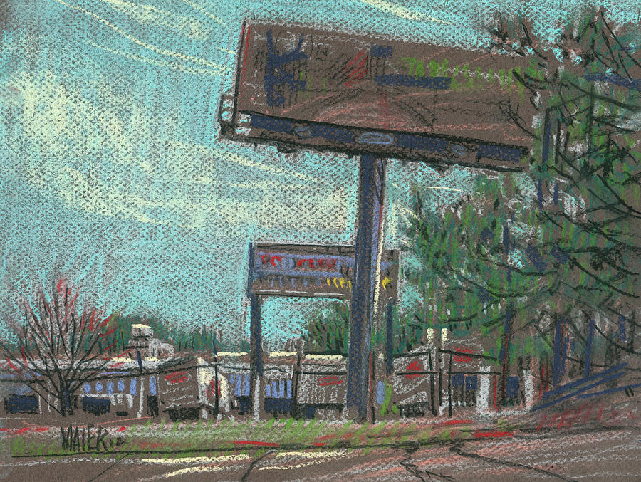 Roadside Billboards Drawing  - Roadside Billboards Fine Art Print