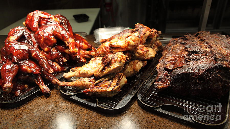 Roast Chicken And Meat Platters - 5d20687 Photograph