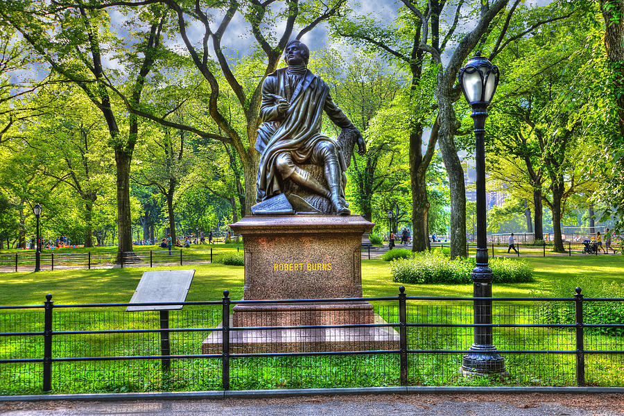 Robert Burns Statue At Literary Walk In Central Park