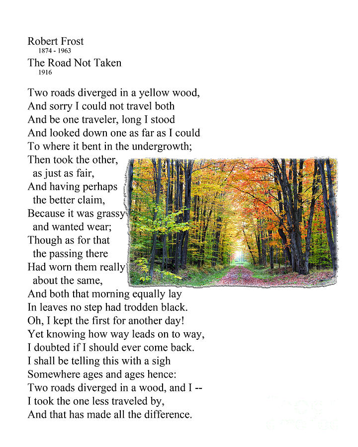 Robert Frost - The Road Not Taken Photograph
