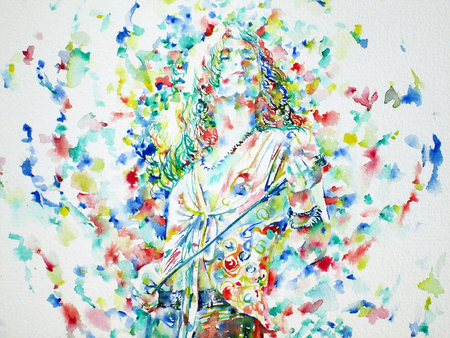 Robert Plant Singing - Watercolor Portrait.1 Painting  - Robert Plant Singing - Watercolor Portrait.1 Fine Art Print