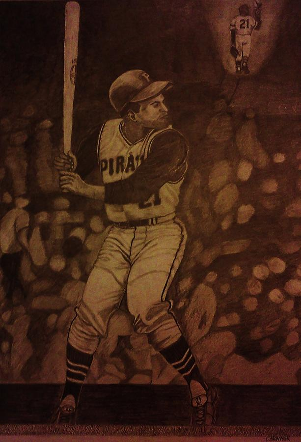 Roberto Clemente Drawing - Roberto Clemente by Christy Saunders Church