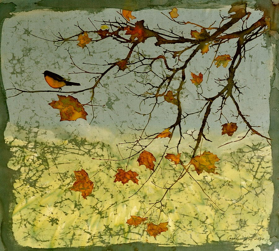 Robin In Maple Tapestry - Textile  - Robin In Maple Fine Art Print