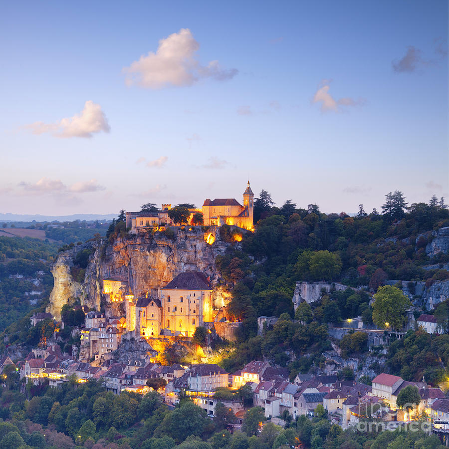 Rocamadour Midi-pyrenees France Twilight Photograph  - Rocamadour Midi-pyrenees France Twilight Fine Art Print