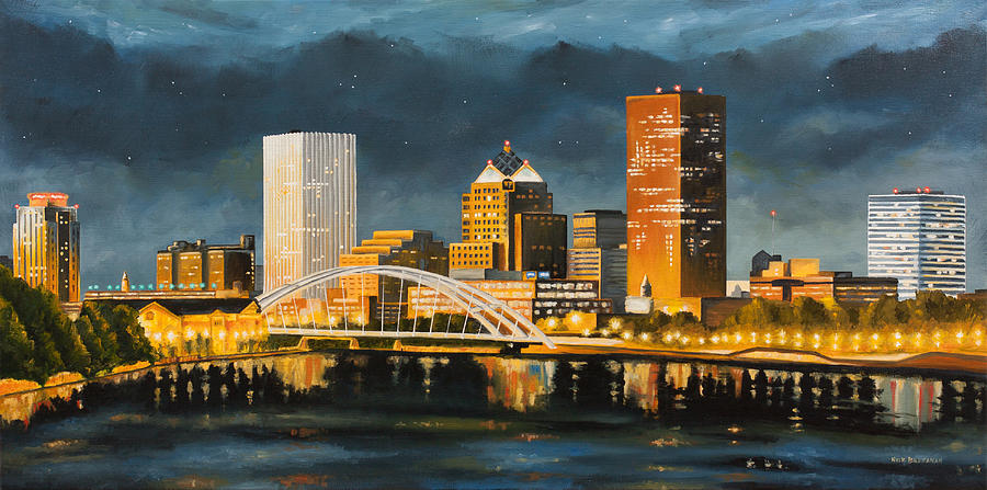 Rochester new york skyline at night painting by nick buchanan for New york skyline painting