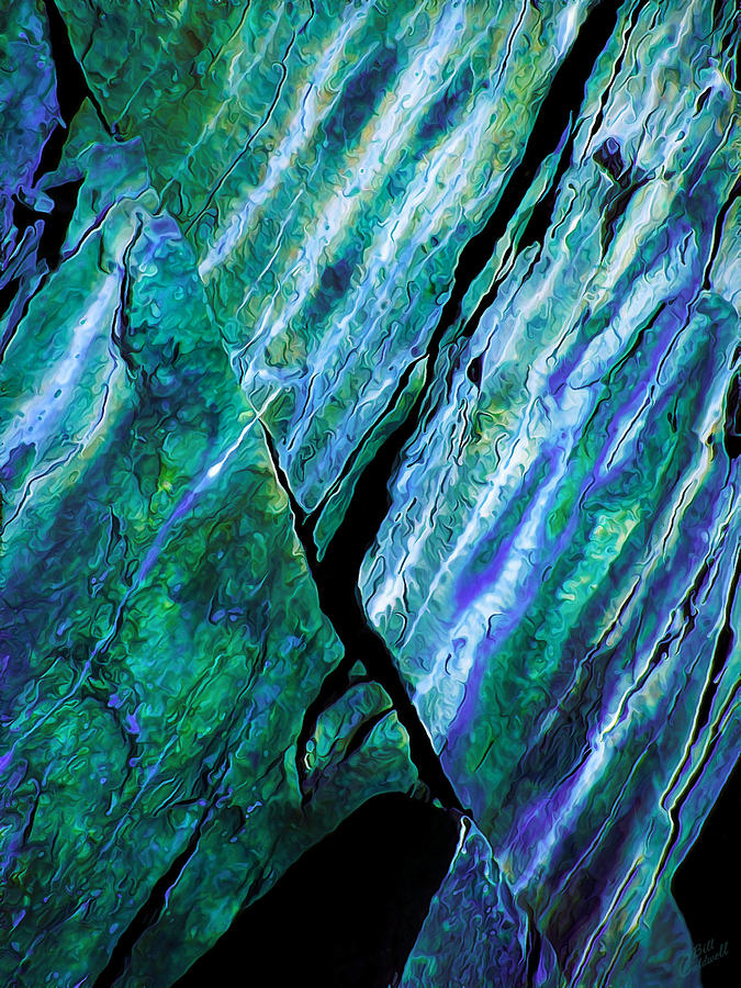 Rock Art 16 In Teal N Violet Digital Art  - Rock Art 16 In Teal N Violet Fine Art Print