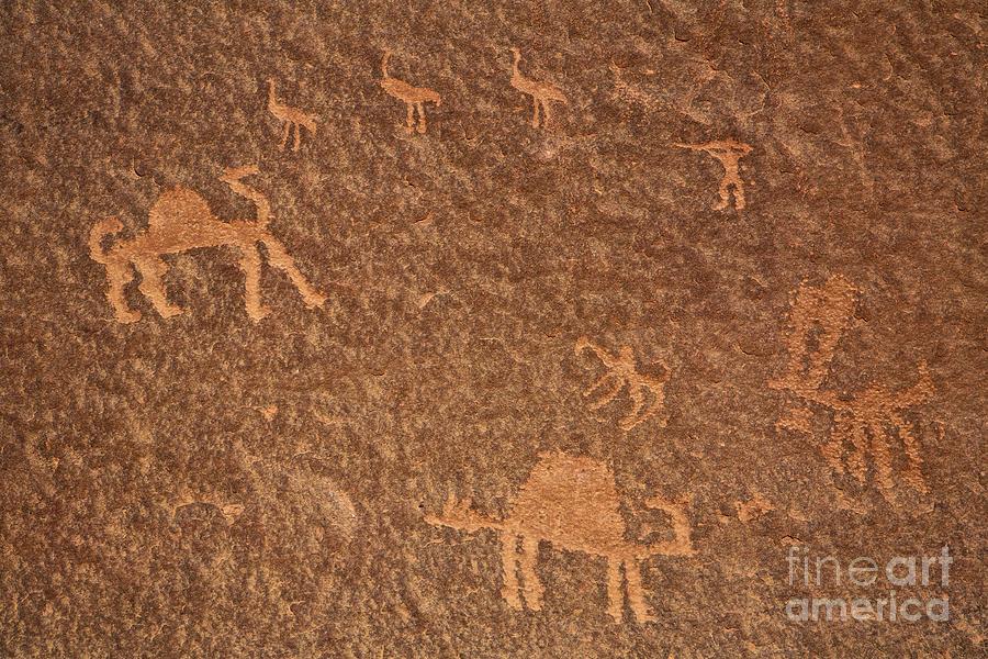 Rock Art At Wadi Rum In Jordan Photograph