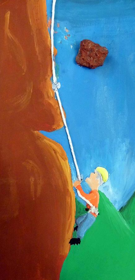 Rock Painting - Rock Climber by Jera Sky