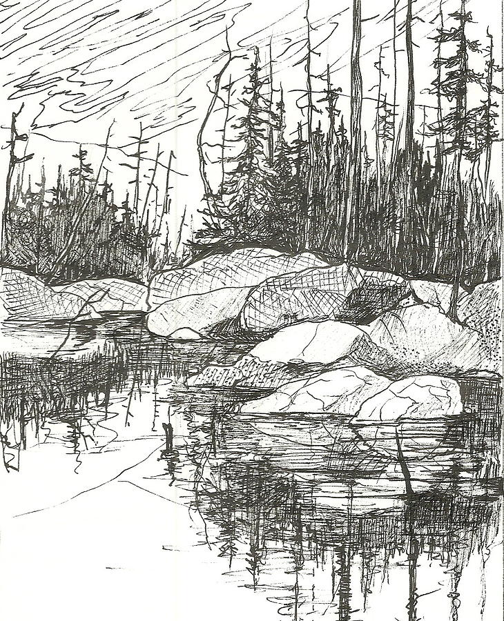 Rock Lake.algonquin Provincial Park Drawing