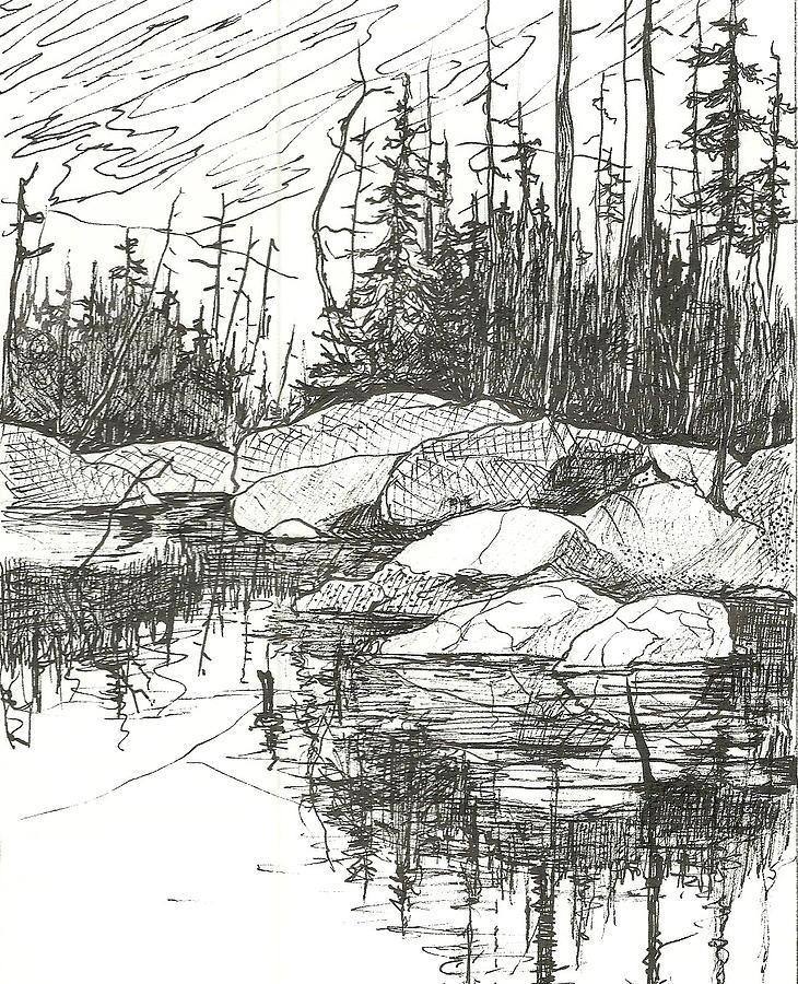 Rock Lake.algonquin Provincial Park Drawing