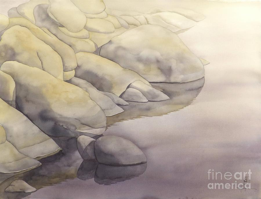 Rock Meets Water Painting  - Rock Meets Water Fine Art Print