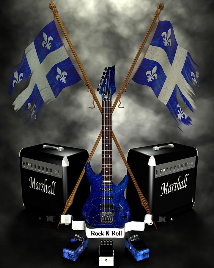 Rock N Roll Crest - Quebec Digital Art