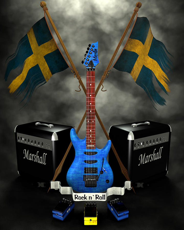 Rock N Roll Crest- Sweden Digital Art