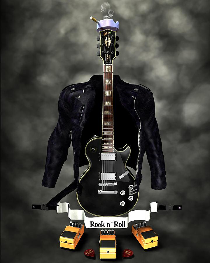 Rock N Roll Crest-the Guitarist Digital Art