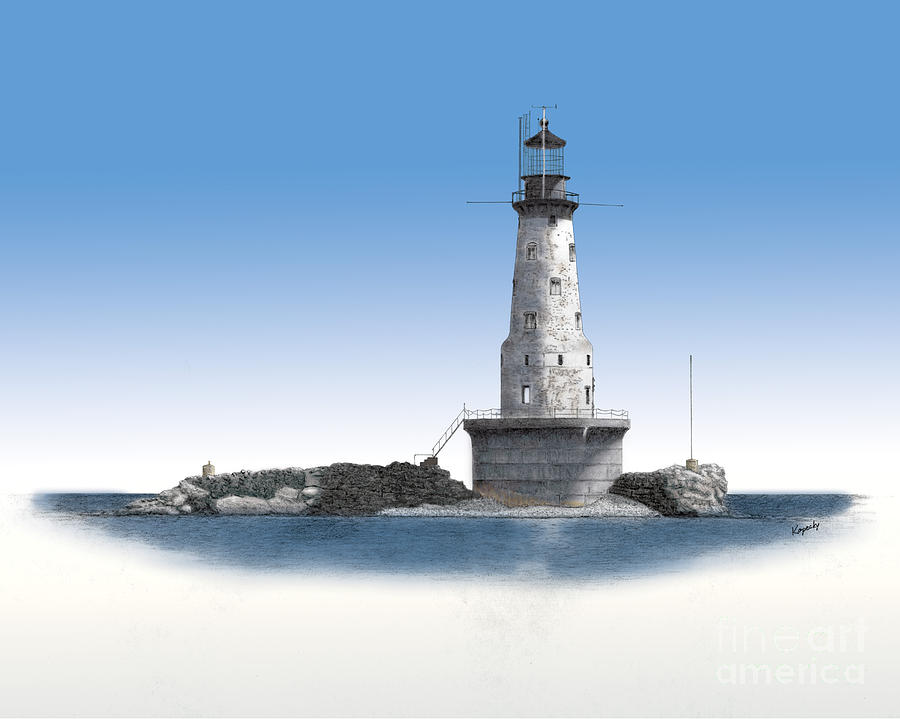 Lighthouse Drawing - Rock Of Ages Lighthouse by Darren Kopecky
